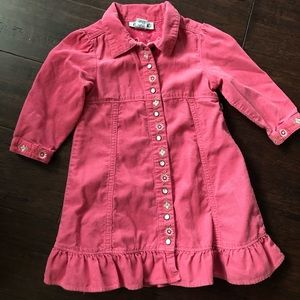 Corduroy pink dress with pearl snap buttons